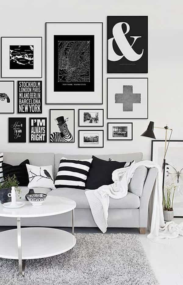 decoración en blanco y negro