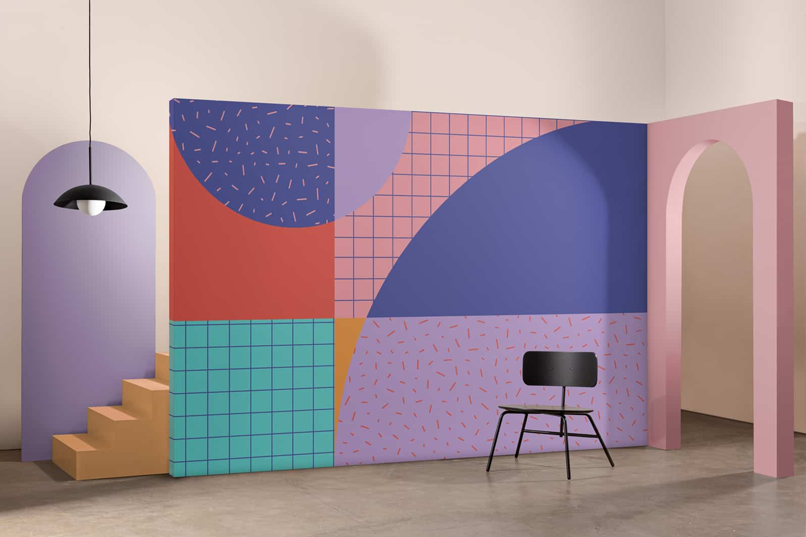 Papeles pintados atrevidos en una colección inspirada en el Grupo Memphis 6